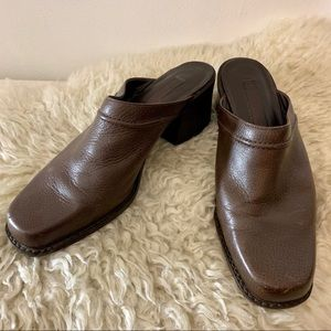 Vintage Genuine Brown Leather Mules 9